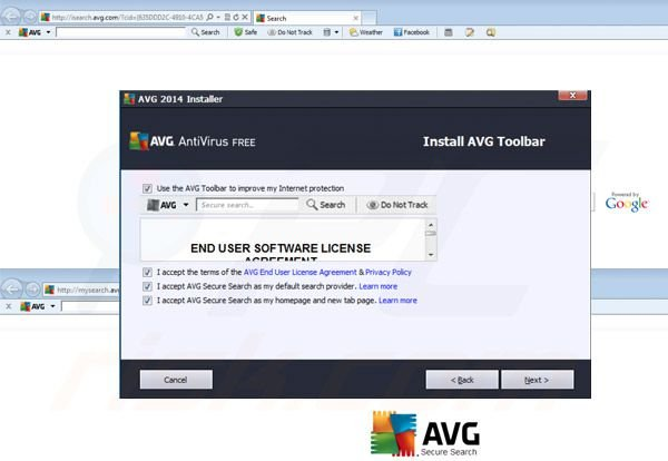 Redirecionamento AVG Search