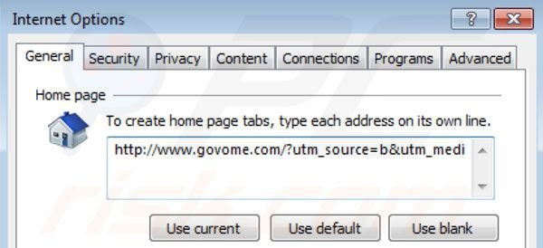 Remover o vírus Govome search da página inicial do Internet Explorer