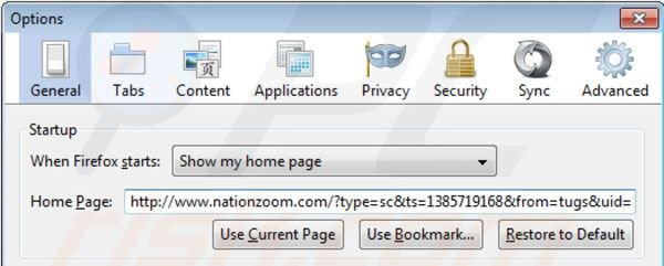 Remover o vírus Nationzoom.com da página inicial do Mozilla Firefox