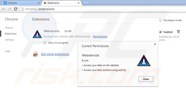 Remover Websteroids do Google Chrome passo 2