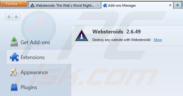 Remover Websteroids do Mozilla Firefox passo 2