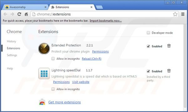 Remover awesomehp.com das extensões do Google Chrome