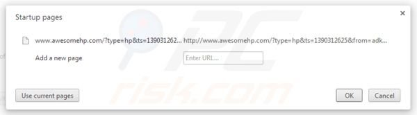 Remover awesomehp.com da página incial do Google Chrome