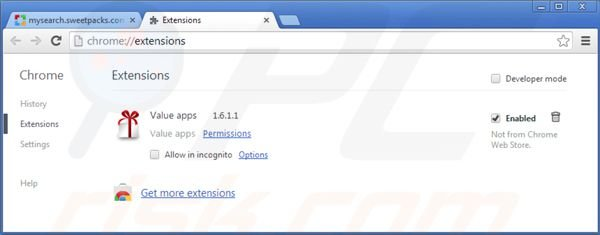 Remover os redirecionamentos de Mysearch.sweetpacks.com das extensões do Google Chrome