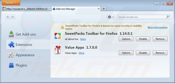 Remover o redirecionamento mysearch.sweetpacks.com das extensões do Mozilla FireFox