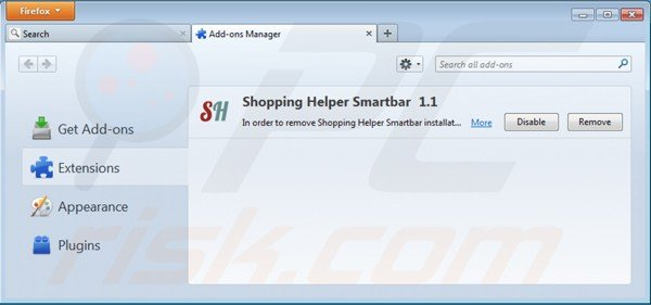 Remova shopping helper smartbar das extensões do Mozilla Firefox