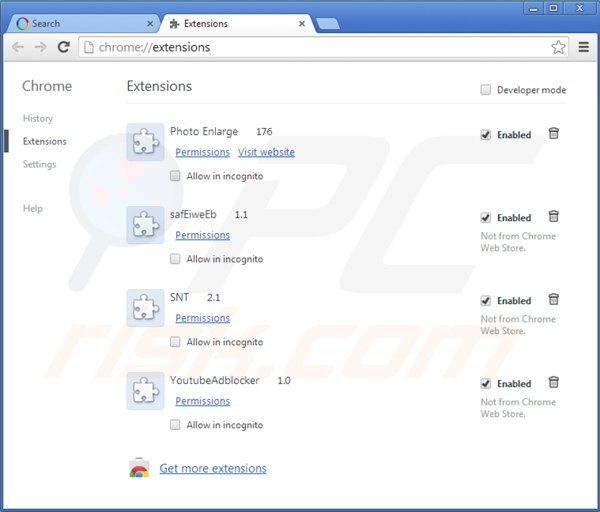 Remova websearch.amaizingsearches.info do Google Chrome