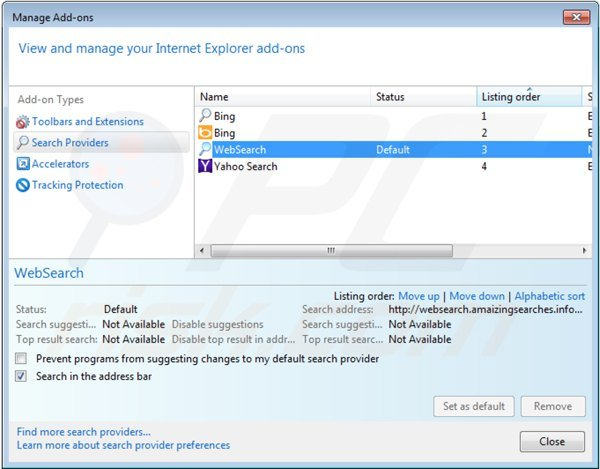 Remover websearch.amaizingsearches.info do motor de busca padrão do Internet Explorer