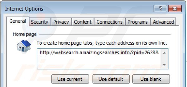 Remover websearch.amaizingsearches.info da página inicial do Internet Explorer