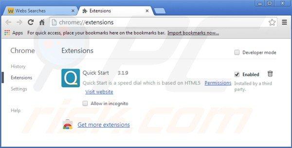 Remova o vírus istart.webssearches.com das extensões relacionadas com o Google Chrome