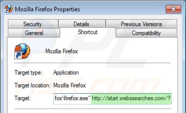 Remova vírus istart.webssearches.com do atalho do Mozilla Firefox  passo 2