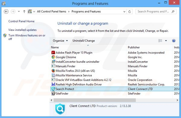 desinstalar o adware client connect ltd via Painel de Controlo