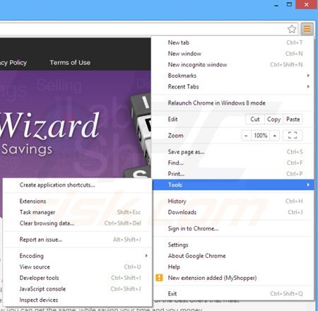 Remova OffersWizard de do Google Chrome passo 1