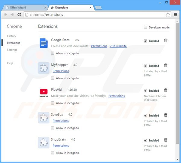 Remova OffersWizard de do Google Chrome passo 2