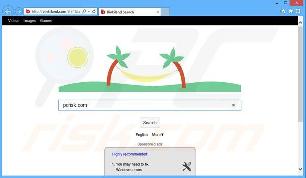 binkiland.com browser hijacker