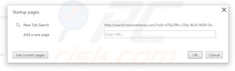 Removendo a página inicial search.myweatherxp.com from do Google Chrome
