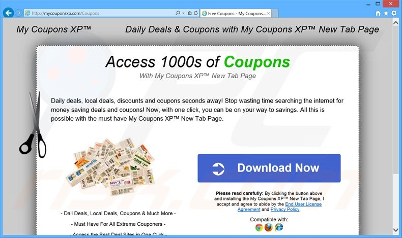 My Coupons XP a promover o website