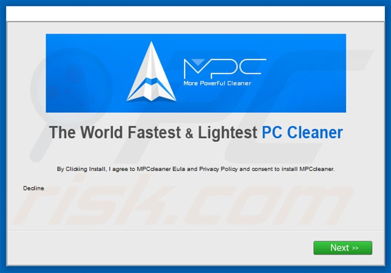 Instalador do software a agregar MPC Cleaner