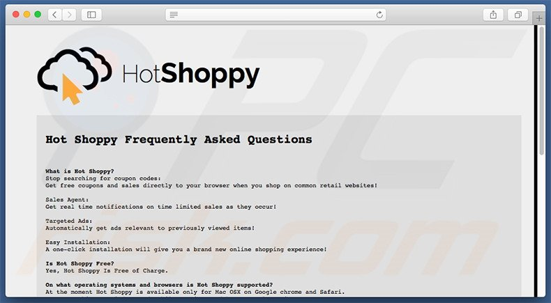 FAQ do website HotShoppy