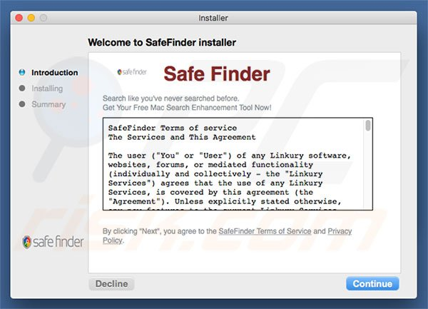 Instalador fraudulento a promover search.safefinderformac.com