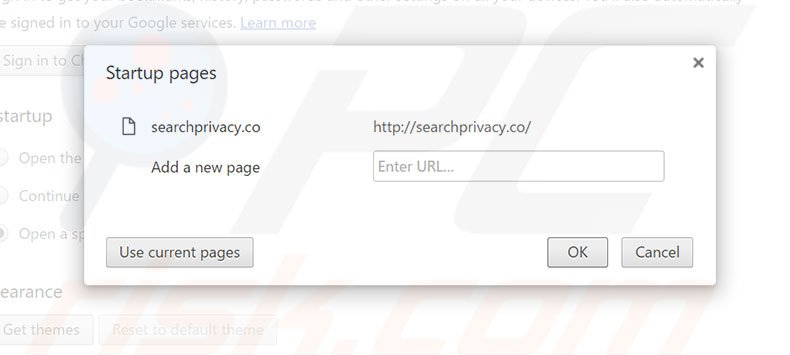 Removendo a página inicial searchprivacy.co do Google Chrome
