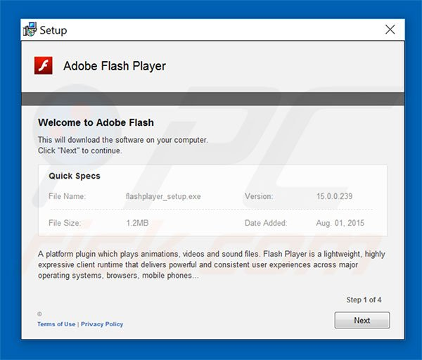 Fraude do Instalador Adobe Flash Player Update