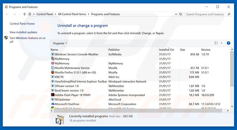 desinstalar o adware Windows Security Alert através do Painel de Controlo
