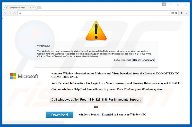 Fraude do website Windows Security Alert