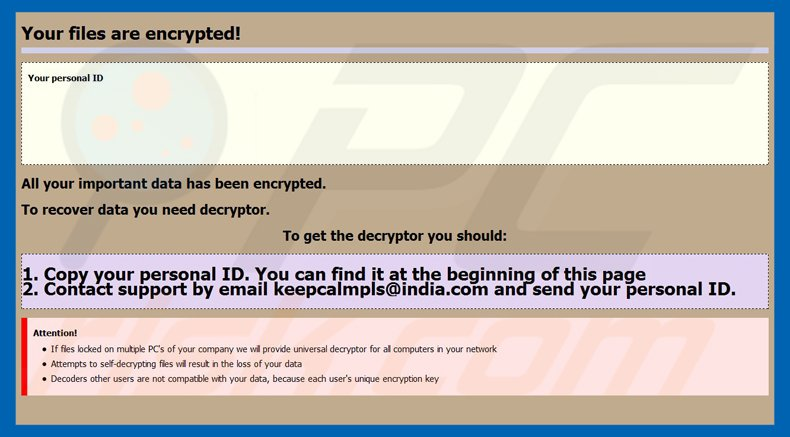 Ransomware globeimposter variante .keepcalm