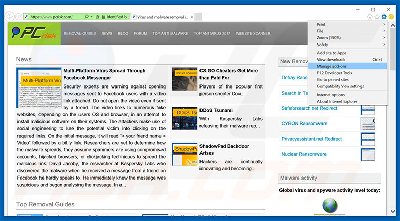Removendo os anúncios Firewall detecting 'suspicious' incoming network connections do Internet Explorer passo 1