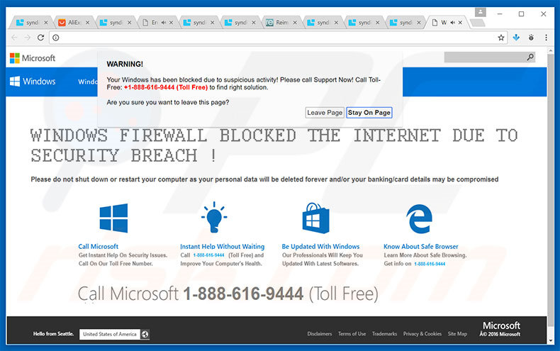 adware AVISO! Your Windows Has Been Blocked