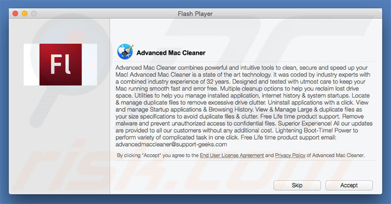 Instalador fraudulento usado para promover Advanced Mac Cleaner