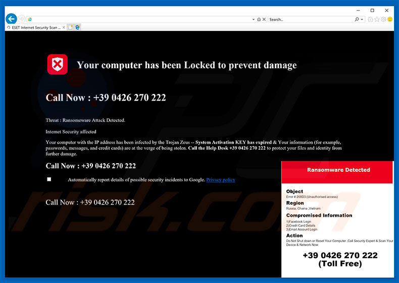 adware Your Computer Has Been Locked To Prevent Damage