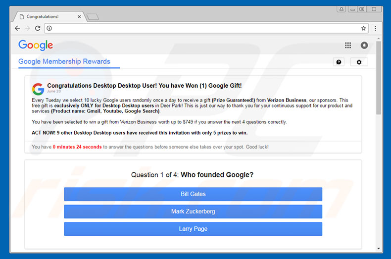Adware You Have Won A Google Gift