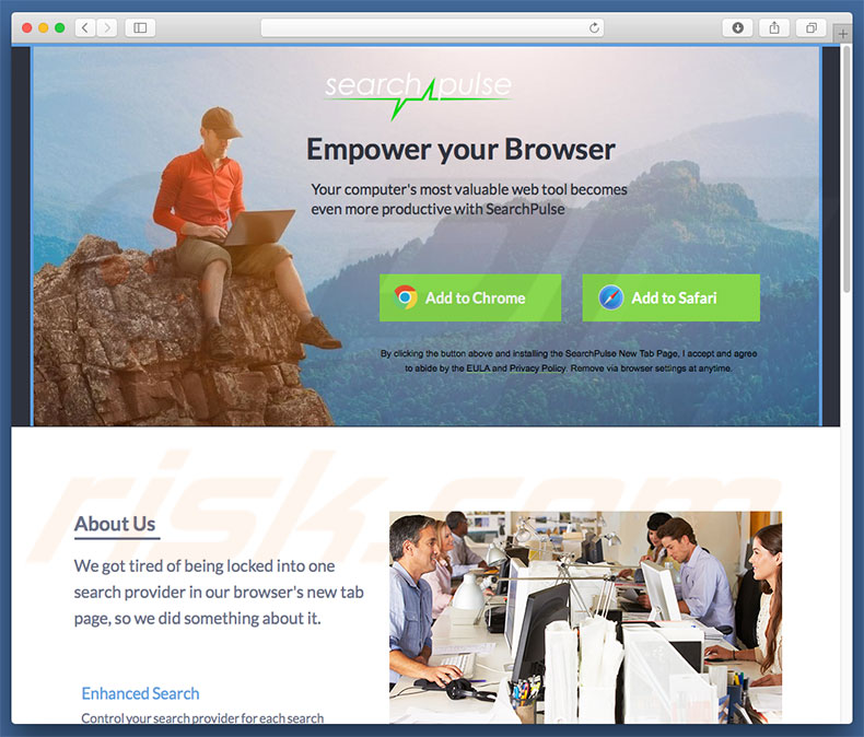 Site fraudulento usado para promover home.searchpulse.net