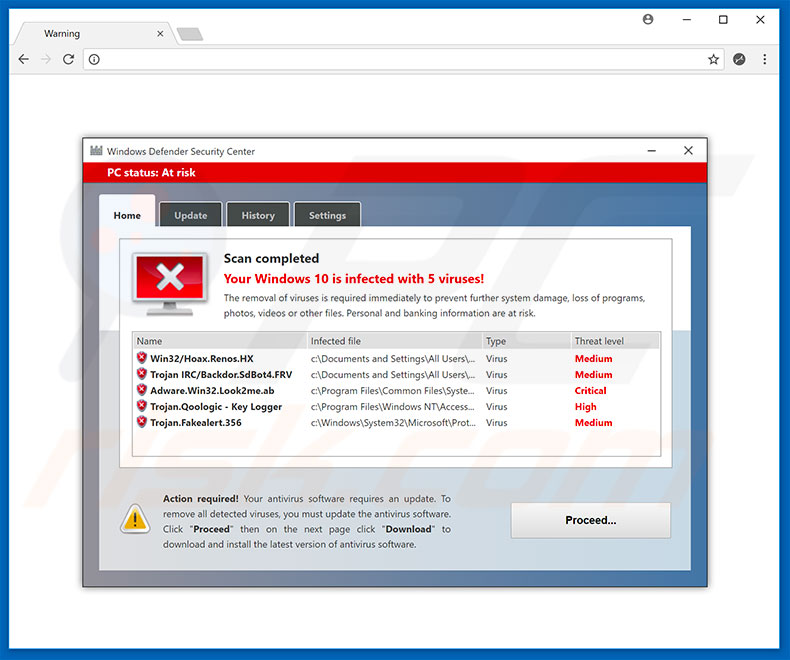 Fraude do Windows Defender Security Center
