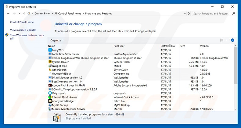 Desinstalar o adware Google Chrome Support Centre através do Painel de Controlo