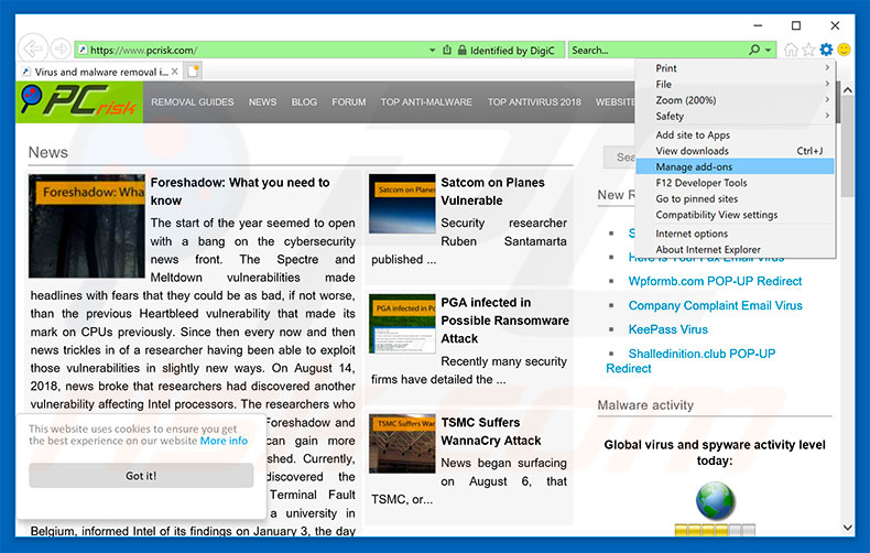 Remover os anúncios Ads X In Google Search Results do Internet Explorer passo 1