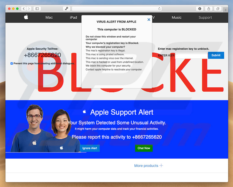 Fraude do Apple Support Alert