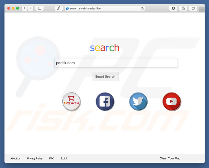 sequestrador de navegador Search.ewatchseries.Live num computador Mac