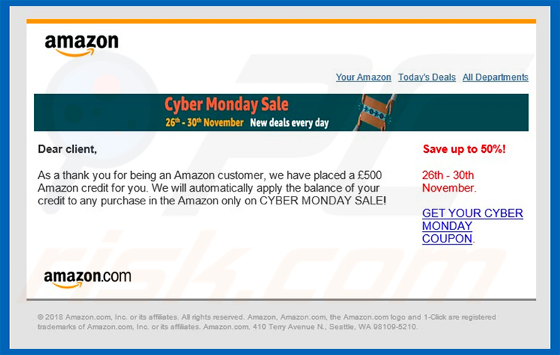 E-mail do Amazon Email Virus