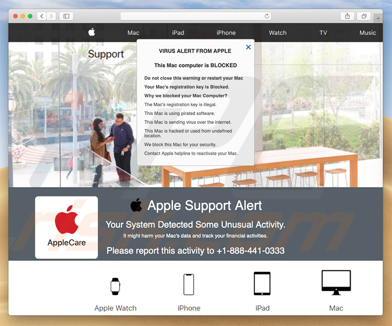 Pop-up da fraude Apple Support Alert (exemplo 2)
