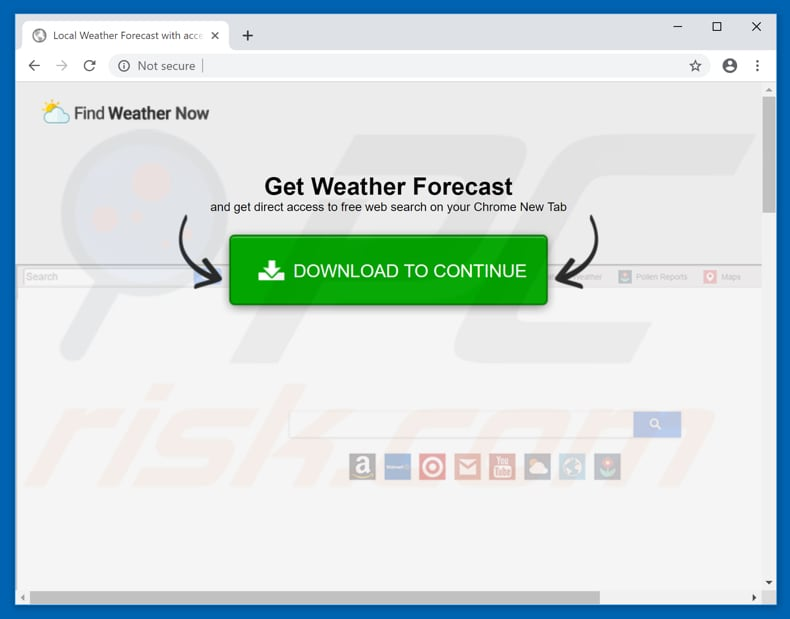 Website usado para promover o sequestrador de navegador Find Weather Now