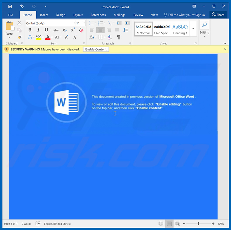 trojan Ursnif a distribuir o documento do word