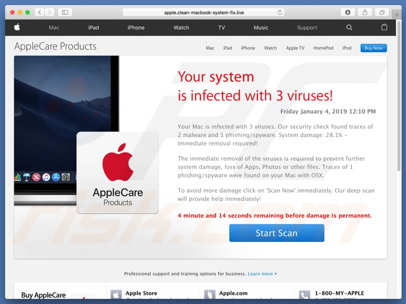 fraude Your System Is Infected With 3 Viruses!