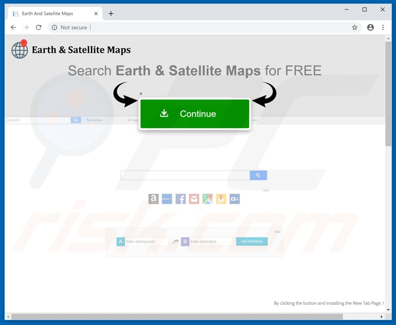 Website usado para promover o sequestrador de navegador Earth And Satellite Maps