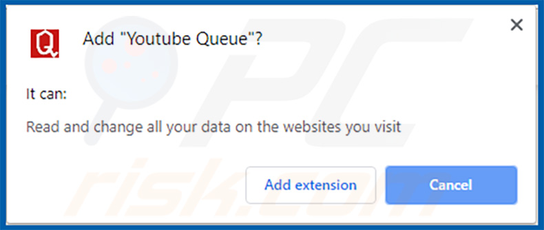 Aviso de extensão de Youtube Queue