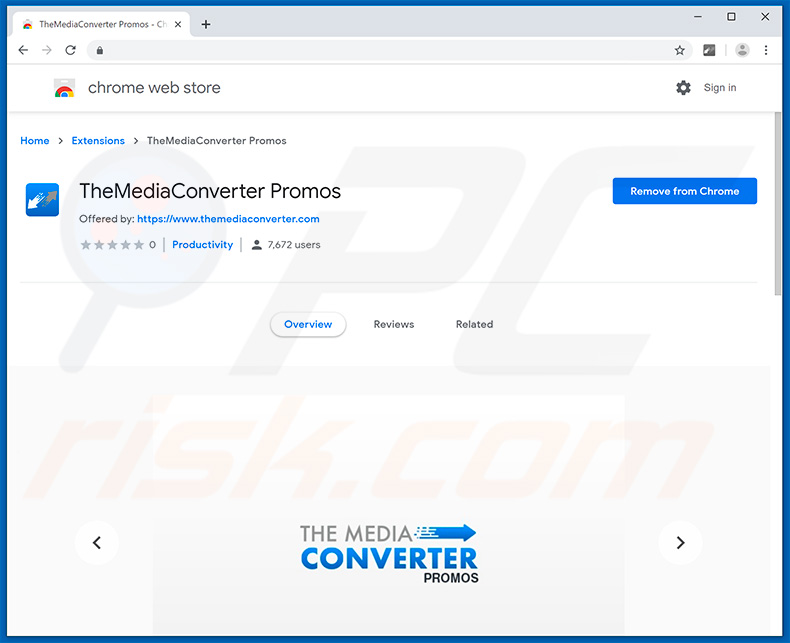 TheMediaConverter Promos na Google Chrome Web Store