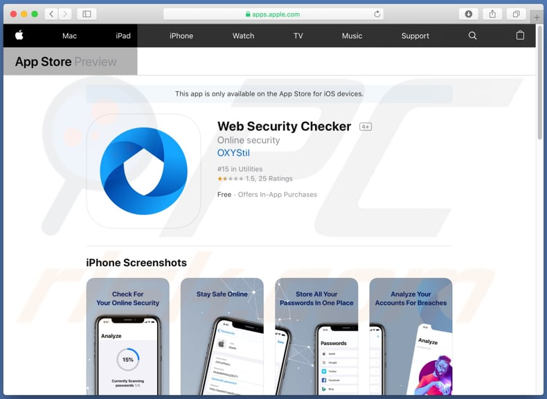 Página de descarregamento do Web Security Checker
