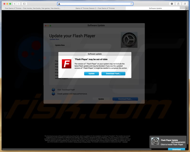 flash player falso instalado num site fraudulento